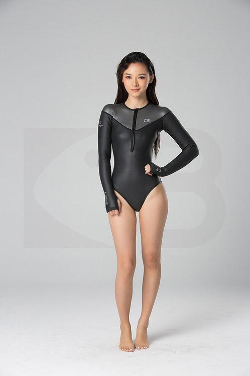 BESTDIVE 2mm女士墨灰炫彩比基尼防寒衣 石墨黑/深邃灰