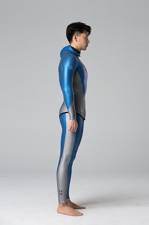 BESTDIVE 3mm男士炫彩流線系列防寒衣 加勒比藍/太空銀