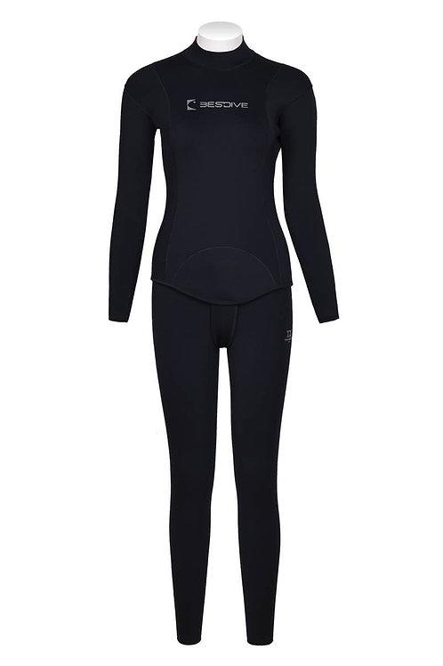 BESTDIVE 3mm女士兩用雙面穿防寒衣(無帽) 經典黑/桃紅色