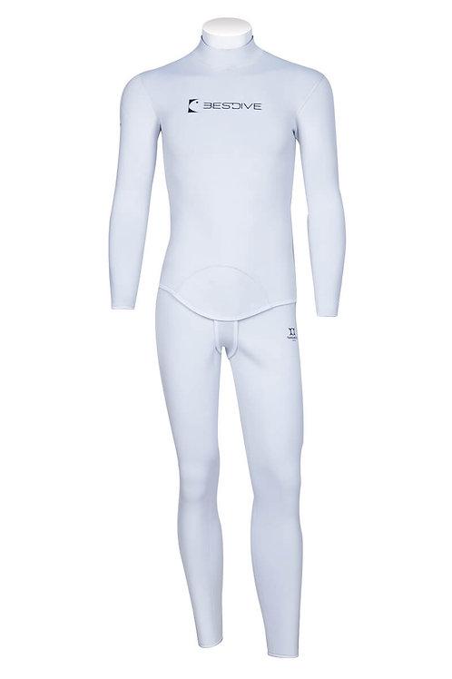 BESTDIVE 3mm男士兩用雙面穿防寒衣(無帽) 珍珠白/寶藍色
