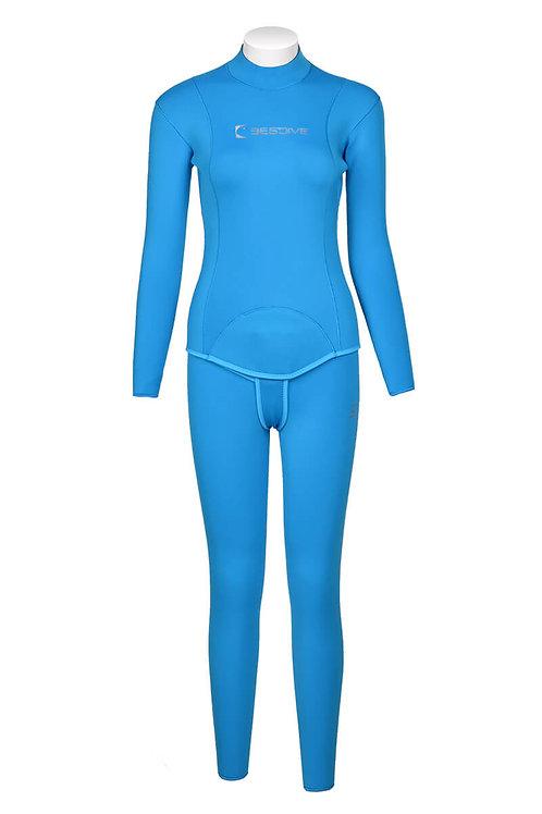 BESTDIVE 3mm女士兩用雙面穿防寒衣(無帽) 湖藍色/淺灰色