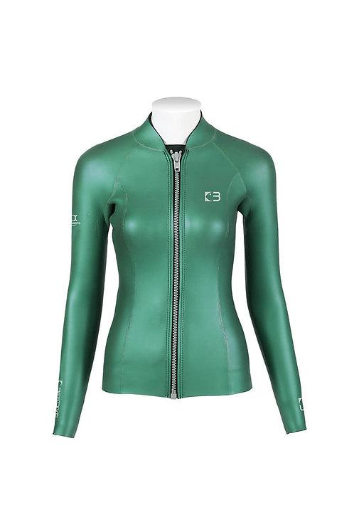 BESTDIVE 3mm女士炫彩拉鍊夾克 摩洛哥綠
