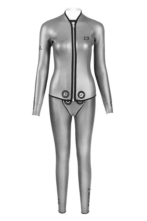 BESTDIVE 3mm女士炫彩拉鍊夾克(帶兜檔)套裝 太空銀