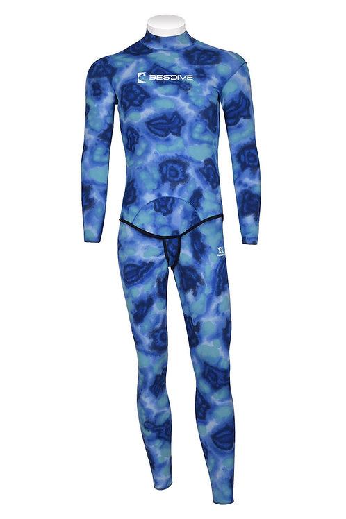 BESTDIVE 3mm男士兩用雙面穿防寒衣(無帽) 藍色海洋迷彩/經典黑