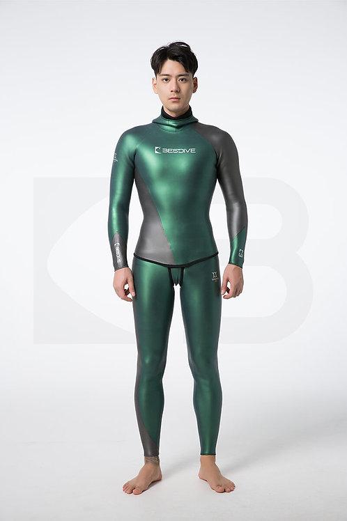 BESTDIVE 3mm男士炫彩流線系列防寒衣 摩洛哥綠/深邃灰