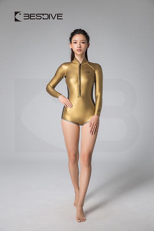 BESTDIVE 2mm女士金典系列比基尼防寒衣 平角拼色款 炫彩金/深邃灰