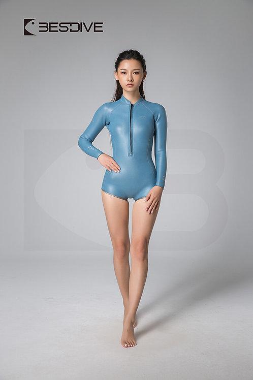 BESTDIVE 2mm女士金典系列比基尼防寒衣 平角純色款 晨暮藍