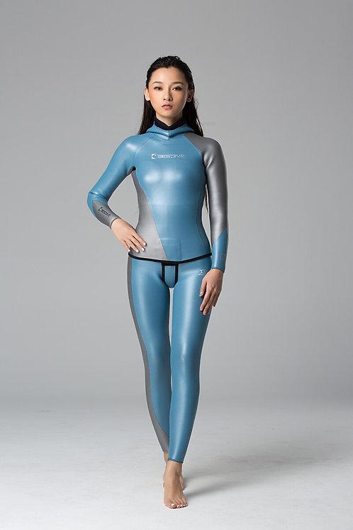 BESTDIVE 3mm女士炫彩流線系列防寒衣 晨暮藍/太空銀