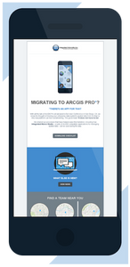 View of Integrated Informatics July 2018 email newsletter on an iPhone mobile device screen, showing Esri ArcGIS users a checklist for moving spatial data to ArcGIS Pro.