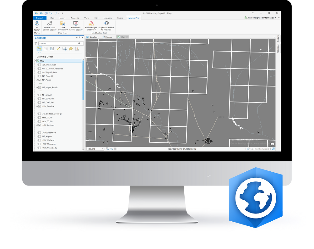 Announcement that Integrated Informatics Inc is developing a new application for Esri ArcGIS Pro to migrate spatial data from ArcMap to ArcGIS Pro and manage maps effectively.