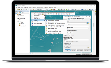 Monitor view of the GIS Knowledge Management software, Marco Desktop, and its use in the import, export, and edit of spatial data metadata.
