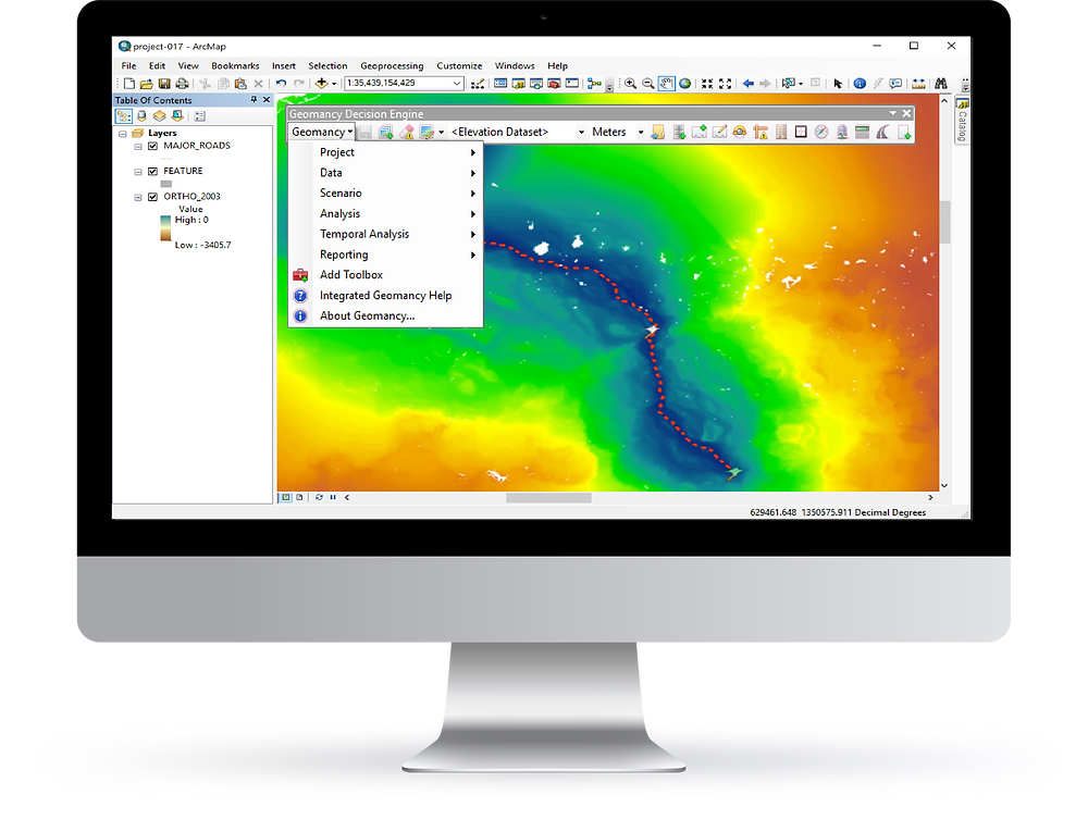 Desktop view of Integrated Geomancy Add-In for ArcGIS displaying Pipeline Gathering System result in Full Field Optimization for Oil and Gas industry.