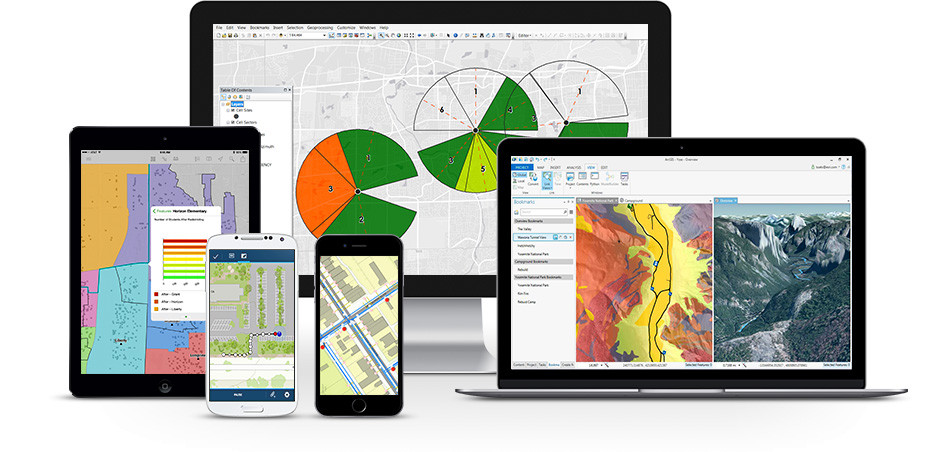 Graphic showing the applications offered in the Esri ArcGIS software platform.