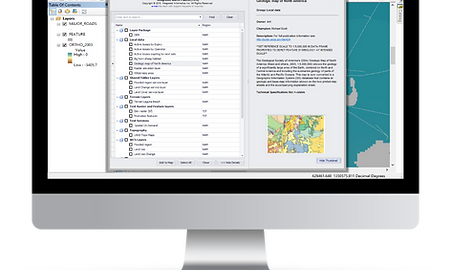 Desktop view of Marco Palette, ArcMap software that permits central access to ArcGIS Layer Files from a registry