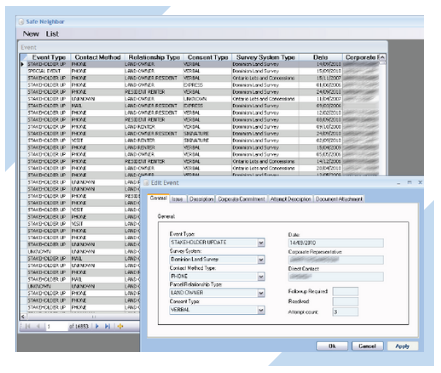 Integrated Safe Neighbor Database view for the Emergency Response, Land Holder, Land Access, and other industries using ArcGIS Add-In custom GIS software.