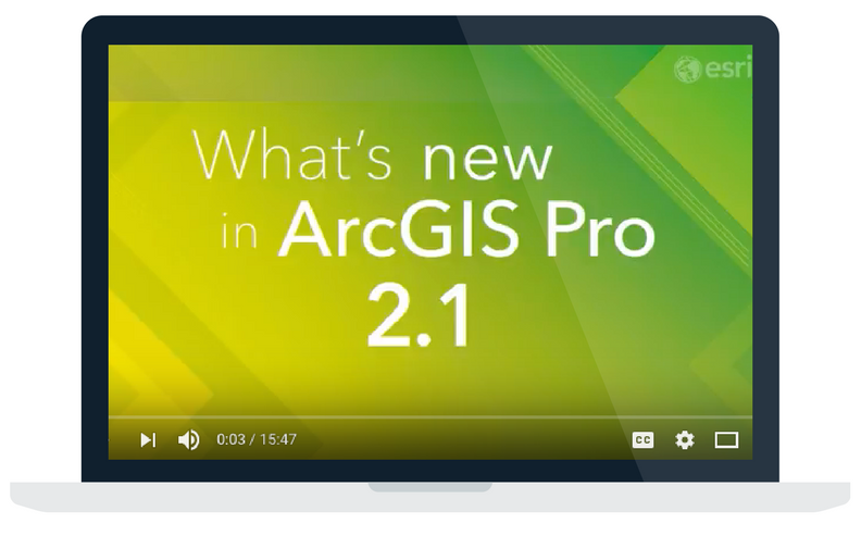 Video on the features included in Esri ArcGIS Pro 2.1 software release.