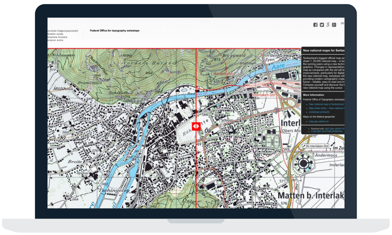 View of interactive web map that shows a comparison of old and new Swiss topography base maps.