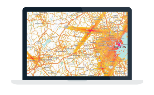 Article on a map referencing noise pollution across the United States.