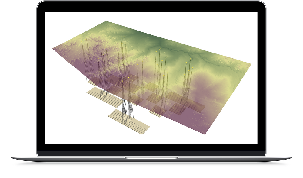 Laptop view of Oil and Gas Well Pad Sites, Laterals, and Pipeline Gathering System location in an oil field in a 3D view in ArcGIS.