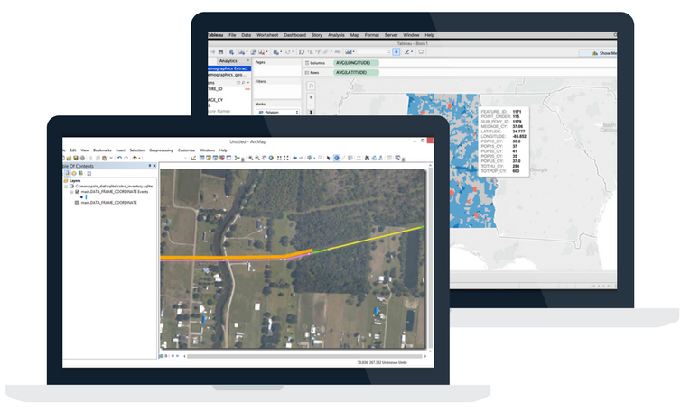 Desktop view of Integrated Portage data in ArcGIS and Tableau, showcasing how to move data from software platform to the other for GIS and data visualization purposes.