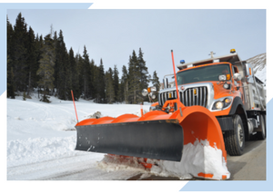 View of snowplow with mobile app created for Rothesby community to track when streets are cleared.