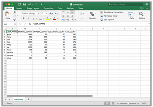Excel spreadsheet report of users and dataset counts with ArcGIS Map Documents, datasets, broken files, and AutoCAD data.