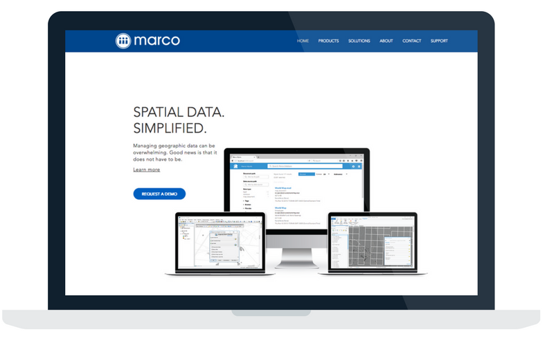 View of Integrated Marco Studio Product Website for ArcGIS spatial data management on Desktop, Laptop, and Mobile.
