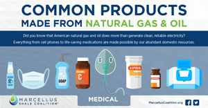Common medical supplies and equipment made from natural gas and oil