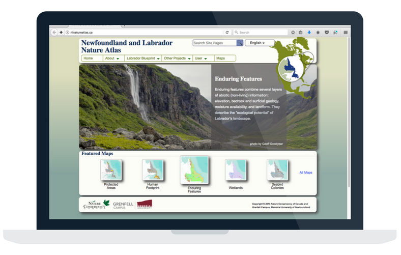 Desktop view of the Newfoundland and Labrador Nature Atlas web mapping application developed by Integrated Informatics Inc to showcase environmental data for the region.