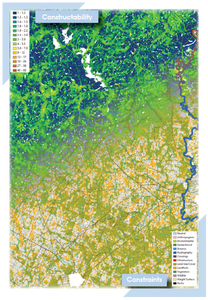 Map of constructability and contribution surfaces for oil field asset planning in Oil and Gas as determined by Integrated Informatics Integrated Geomancy Add-In for ArcGIS.