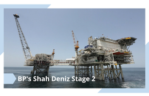 A picture of the Shah Deniz offshore oil and gas platform developed by BP.