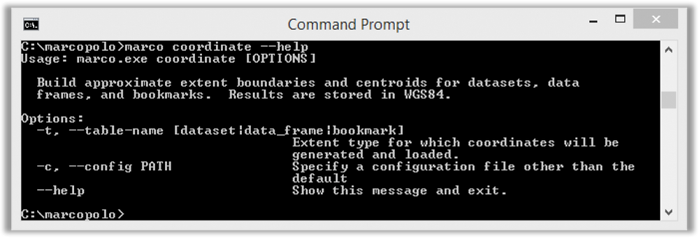 View of coordinate tool from Integrated Marco Commander application in Windows Command Prompt.