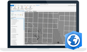 Laptop view ArcGIS Pro software with the Integrated Marco Pro Add-In toolbar displaying spatial data management tools.