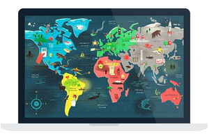 Article on a map that features icons and art in place of a legend or key.