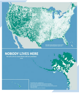 Article on Map of the Day post about a map depicting US Census population density.