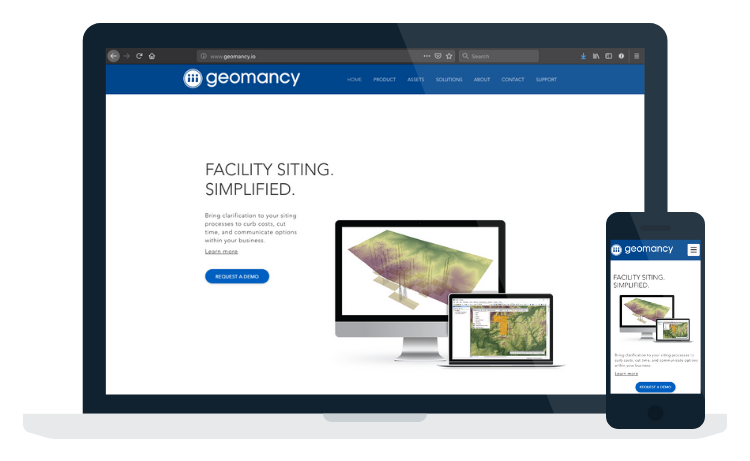 View of Integrated Geomancy Product Website on Desktop, Laptop, and Mobile.