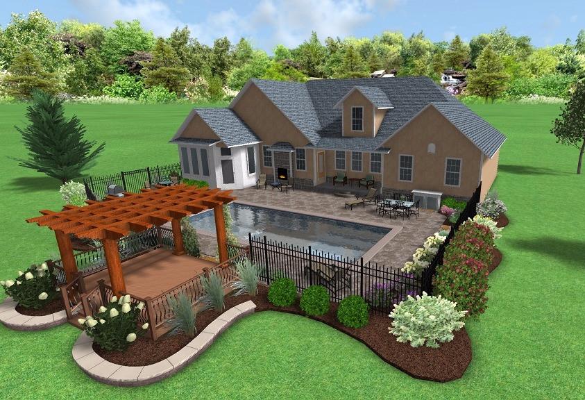 Backyard poolside design