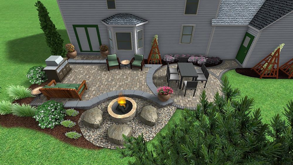 Backyard raised patio & fire pit in 3D