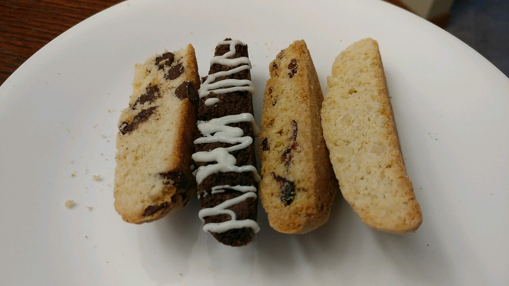 Chocolate Chip, Double Chocolate Mint, Orange Cranberry, and Almond Biscotti