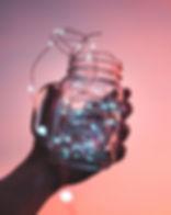 Luzes de corda em jarra
