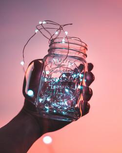 Lichterketten im Glas