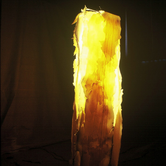 lit wax sculpture installation