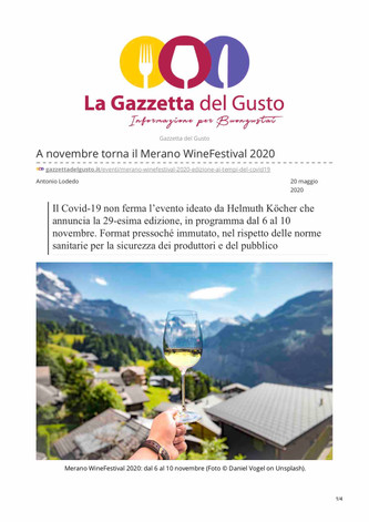 A novembre torna il Merano WineFestival 2020