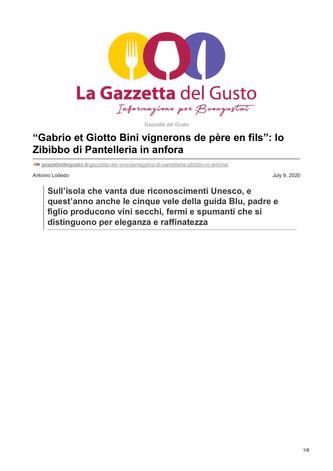 """Gabrio et Giotto Bini vignerons de père en fils"": lo Zibibbo di Pantelleria in anfora"