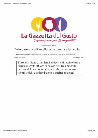 L'arte casearia a Pantelleria: tumma e ricotta