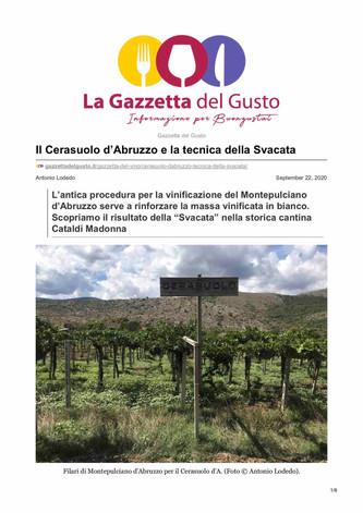 Il Cerasuolo d'Abruzzo e la tecnica della Svacata