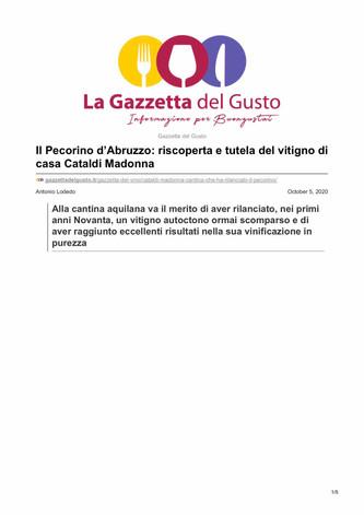 Il Pecorino d'Abruzzo: riscoperta e tutela del vitigno di casa Cataldi Madonna