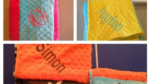 Larger Build your own Minky Throw blanket with monogram
