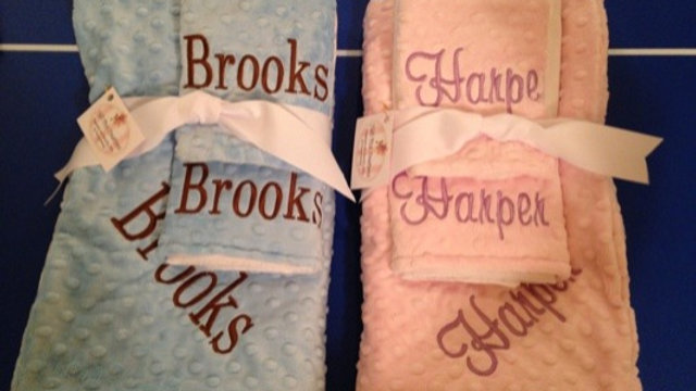 Minky Blanket, Bib and Burp cloth gift sets