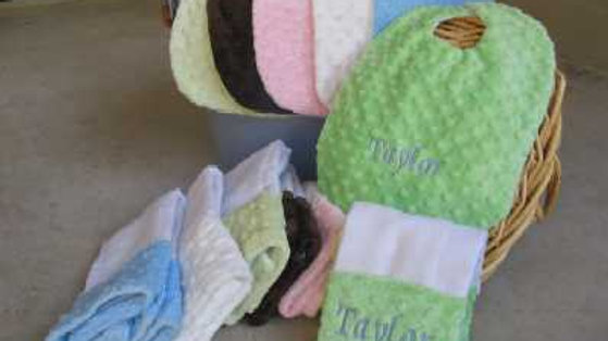Minky Bib and Burp cloth sets